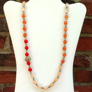 Orange bead with crystal detail necklace